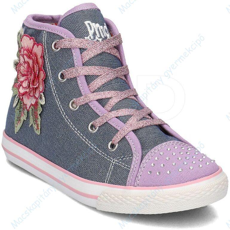 Primigi magasszárú vászon tornacipő bőr lépésbetéttel; oldalán nagy virágdísszel és az orrán strasszokkal, 28-37.