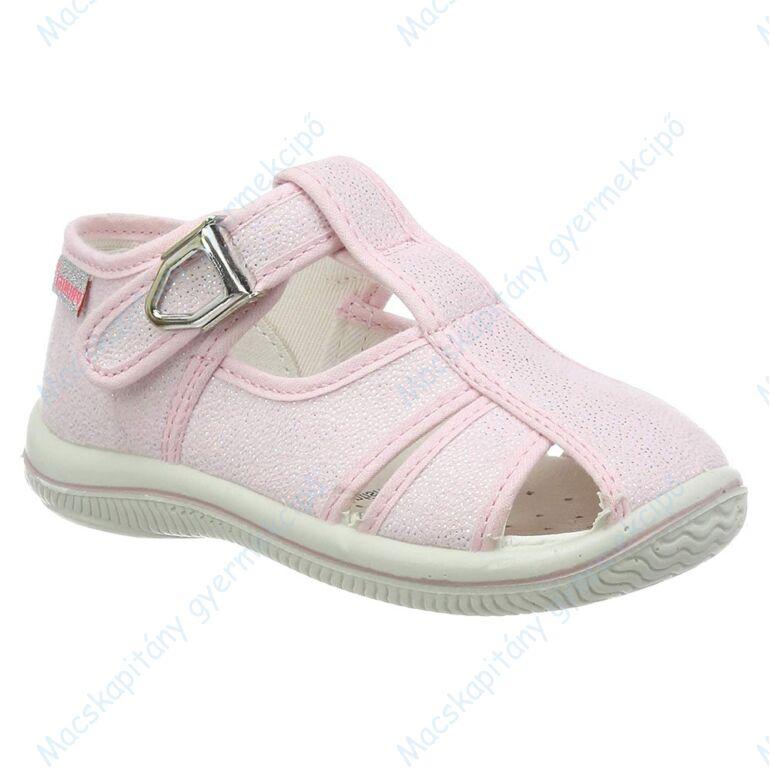 Primigi nyitott vászoncipő csattal, bőr lépésbetéttel, csillogó rózsaszín, 20-25.