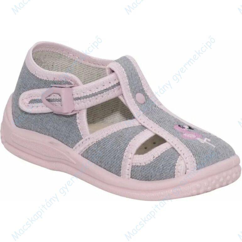 Zetpol nyitott vászoncipő csattal, szürke-rózsaszín, flamingós, 20-24.
