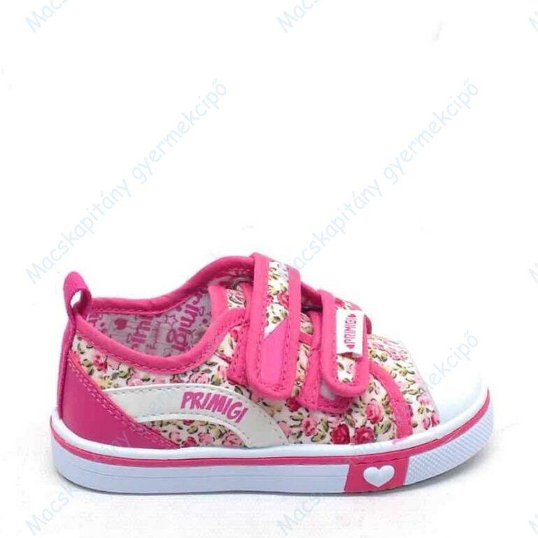 Primigi vászoncipő két tépőzárral, bőr lépésbetéttel, pink-fehér, virágmintás, 24-27.